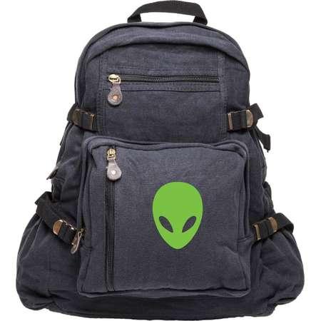 Sci-Fi Alien Head Army Sport Heavyweight Canvas Backpack Bag thumb