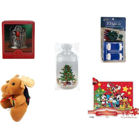 "Christmas Fun Gift Bundle [5 Piece] - Home For The s Nativity Votive Holder -  Time Battery Operated 10 Light Set - Luminarc 1 Quart Decorated Apothecary Gift Jar -  Moose With Plaid Backpack  5"" - thumb"