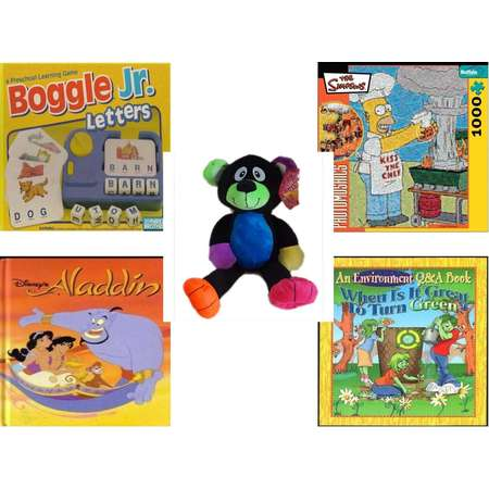 "Children's Gift Bundle [5 Piece] -  Boggle Jr. Letters; a Preschool Learning  - Robert Silvers Photomosaics Homer Simpson  - Sugarloaf s Rainbow Black Bear  16"" - Disney's Aladdin (Disney Classic Se thumb"