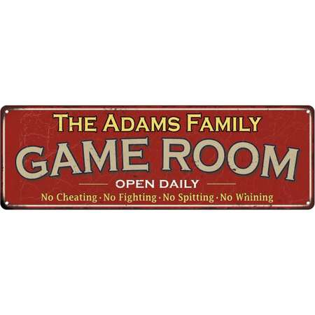 The Adams Family Game Room Red Vintage Look Metal 8x24 Sign Family Name 8248297 thumb