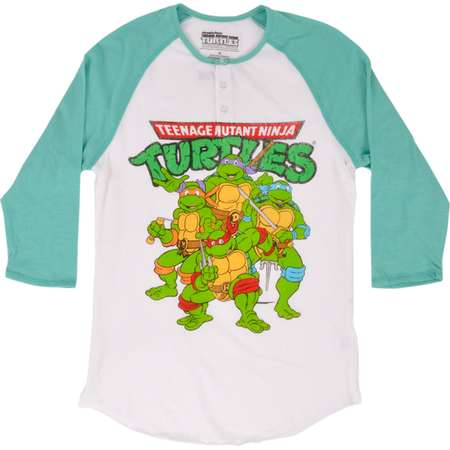 TEENAGE MUTANT NINJA TURTLES RAGLAN HENLEY SHIRT JUNIORS TMNT thumb