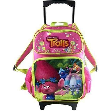 """Dreamworks Trolls Poppy & Family 16"""" Rolling/Roller Large Girls School Backpack thumb"""