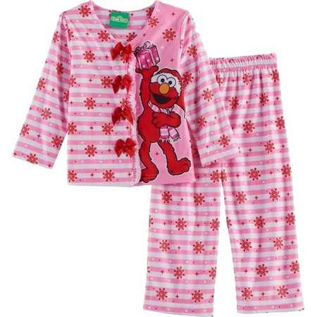 Toddler Girls Pink White Elmo Christmas Pajamas Sesame Street Holiday Sleep Set thumb