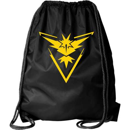Pokemon Go Gym Team Instinct Yellow Black Cinch Bag Drawstring Bag Backpack thumb