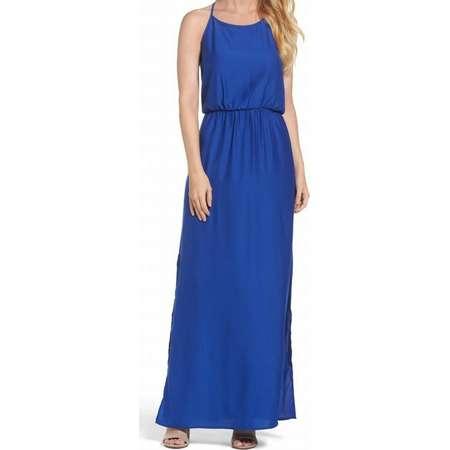 Felicity & Coco NEW Cobalt Blue Womens Size XL Slit Side Maxi Dress thumb