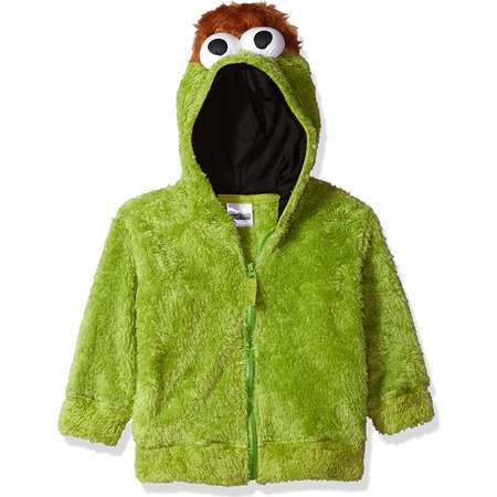Sesame Street Oscar the Grouch Little Boys Costume Hoodie, Green thumb