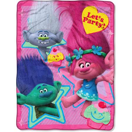 DreamWorks Trolls, Lets Party 46x 60 Micro Raschel Throw thumb