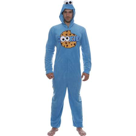 Sesame Street Cookie Monster Mens Hooded Union Suit Pajama Costume, Cookie, Size: L/XL thumb