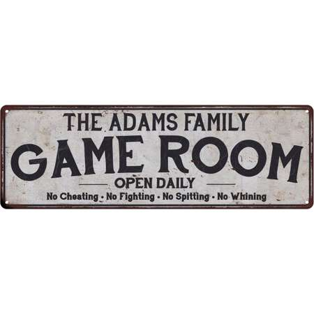 THE ADAMS FAMILY Game Room Country Look Low Lustre Chic Metal Sign 6x18 Wall Décor M61800372 thumb
