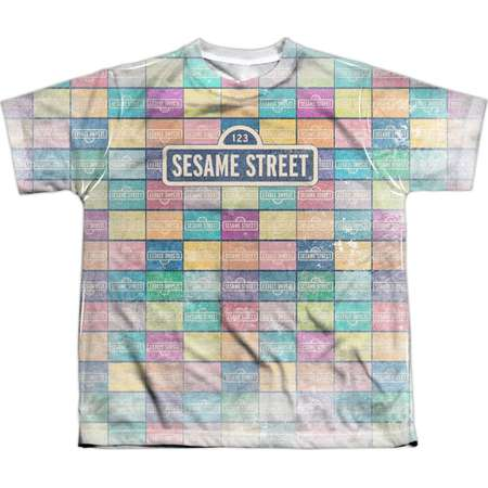 Sesame Street TV Show Logo Color Block Boys Youth Front Print T-Shirt Tee thumb