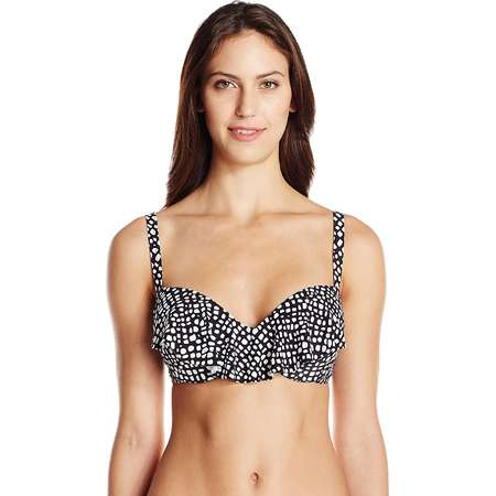 Coco Reef Women's ST. Lucia Aura Ruffle Bikini Top, Black/White, 32/34 C thumb