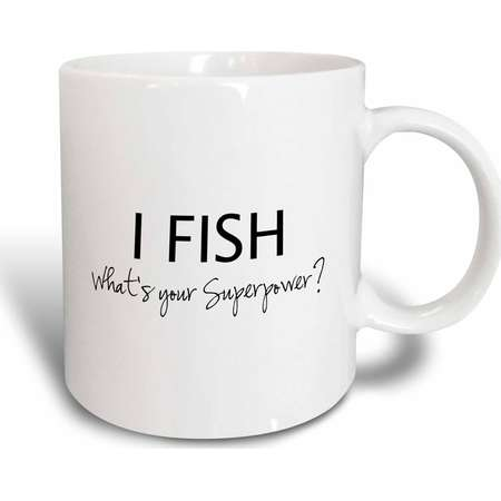 3dRose I Fish - Whats your Superpower - funny fishing love gift for fisherman, Ceramic Mug, 11-ounce thumb