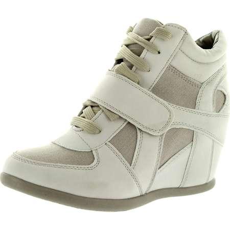 Top Moda Womens Sammy-40 High Top Strap Womens Hidden Wedge Sneaker Shoes thumb
