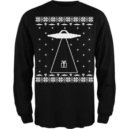 Alien Abduction Ugly Christmas Sweater Black Adult Long Sleeve T-Shirt thumb