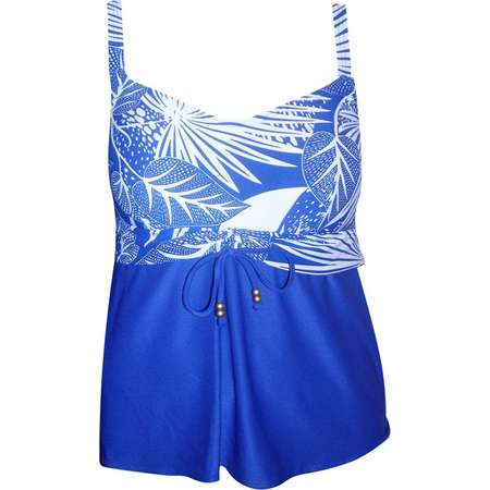 Coco Reef Womens Tankini Underwire Swimsuit Top 16W and 22W Blue Tropical thumb