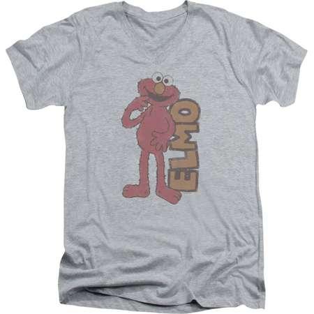 Sesame Street Classic TV Show Vintage Elmo Faded Adult V-Neck T-Shirt Tee thumb