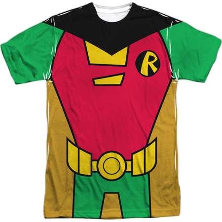 Teen Titans Go! Animated DC TV Show Robin Uniform Adult Front/Back Print T-Shirt thumb