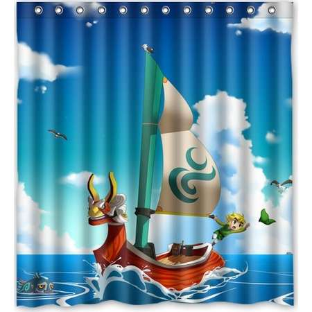 DEYOU The Legend of Zelda The Wind Waker Ship Shower Curtain Polyester Fabric Bathroom Shower Curtain Size 60x72 inch thumb