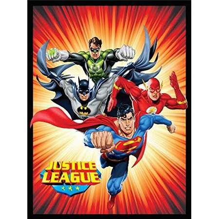 Crover Justice League (Superman, Batman, The Flash, and Green Lantern) Sunburst Luxury Plush Polyester Throw Blanket thumb