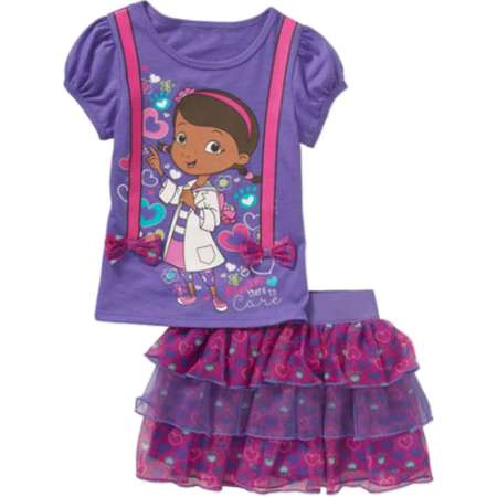 Infant Toddler Girls Doc McStuffins Outfit There To Care Skort & Shirt Outfit  - Size - 24 Months thumb