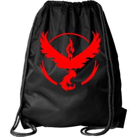 Pokemon Go Gym Team Valor Red Black Cinch Bag Drawstring Bag Backpack thumb