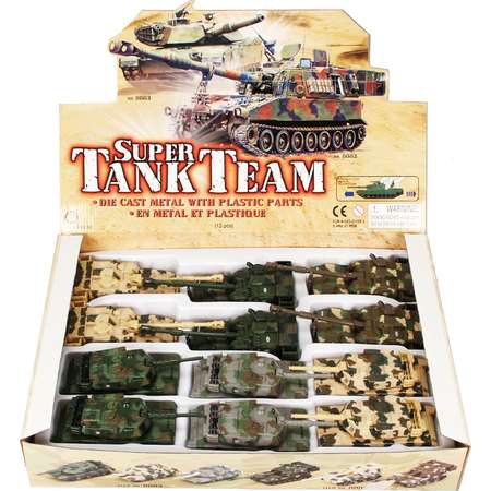 Super Tank Team Diecast Car Package - Box of 12 assorted 6.5 Inch Scale Diecast Model Cars thumb