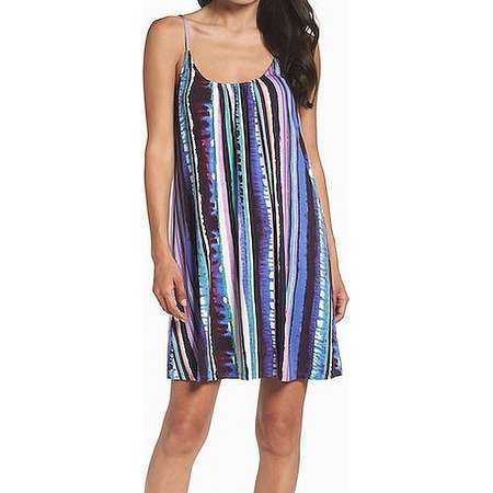 Felicity & Coco NEW Blue Women's Size Medium M Striped Shift Dress thumb