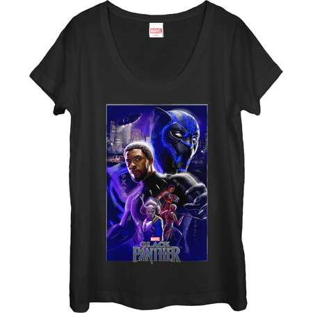 Marvel Women's Black Panther 2018 Character Collage Scoop Neck T-Shirt thumb