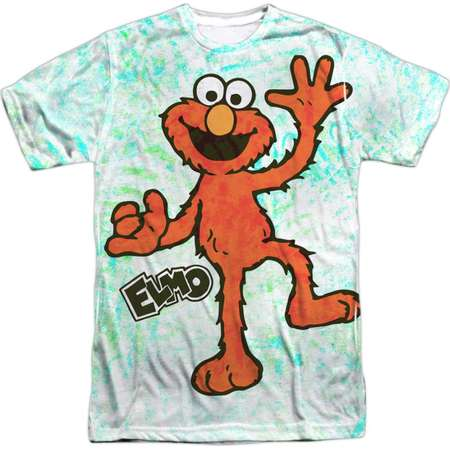 Sesame Street Classic TV Show Waving Elmo Adult Front/Back Print T-Shirt thumb