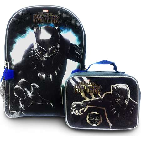 Black Panther Marvel Comics Black Panther School Canvas Backpack with Bonus Lunch Bag (2pc Set) Back to School Supplies and Accessories thumb