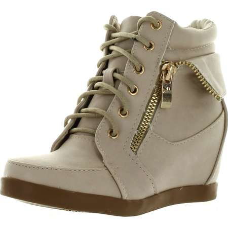 Lucky Top Girls Peter30 Kids Fashion Leatherette Lace-up High Top Wedge Sneaker Bootie thumb