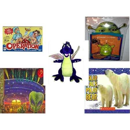 "Children's Gift Bundle [5 Piece] -  Operation  - Shrek The Third Foamheads 4 In 1 Topper Keychain  -  Works Purple Dragon  20"" - Alien World Pop-Ups  - Polar Pals Polar Bear thumb"