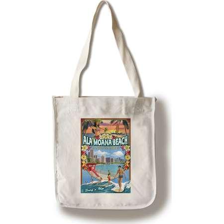 Ala Moana Beach - Honolulu, Hawai'i - Montage Scene - Lantern Press Poster (100% Cotton Tote Bag - Reusable) thumb