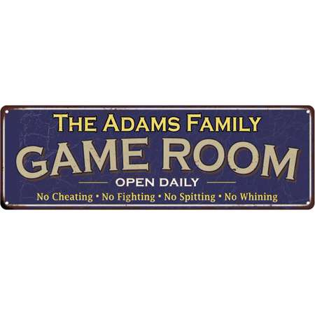 The Adams Family Personalized Blue Game Room Metal 6x18 Sign 206180037166 thumb