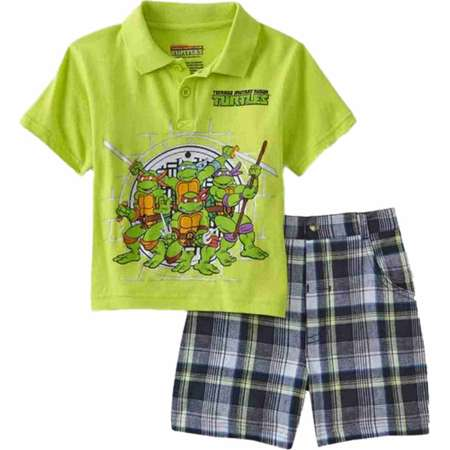 Teenage Mutant Ninja Turtles Infant Boys 2 Piece Polo T-Shirt & Plaid Shorts thumb