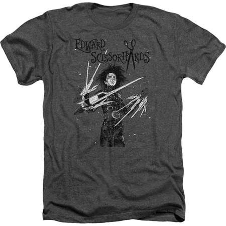 Edward Scissorhands - Snowy Night Adult Regular Fit Heather T-Shirt - Adult Regular Fit Heather T-Shirt / XL / Gray thumb