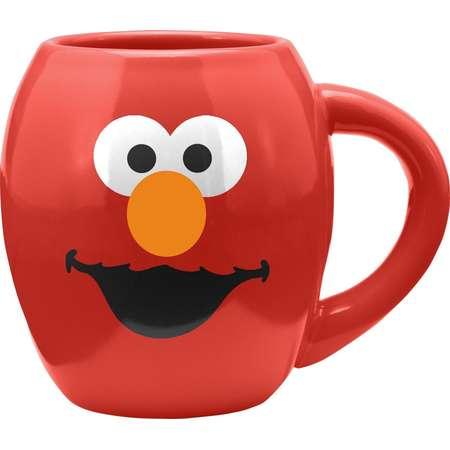 Elmo Sesame Street Face 18 oz. Oval Ceramic Coffee Mug Red Smile Laugh LOL thumb
