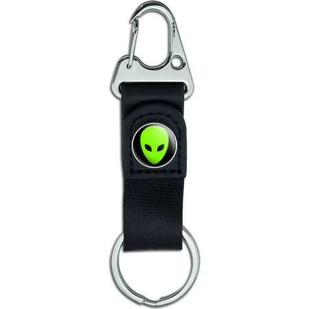 Alien Head Belt Clip On Carabiner Leather Keychain Fabric Key Ring thumb