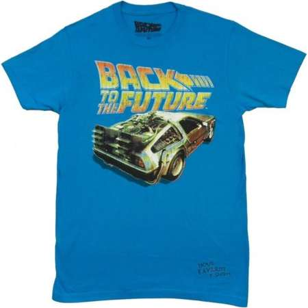 Back To The Future Logo With Delorean Adult T-Shirt thumb