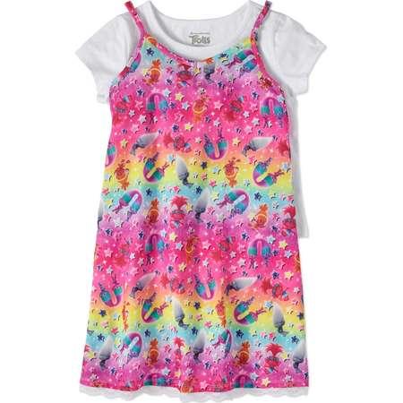 Trolls Girls' Rainbow Lace Trim Slip Dress with T-Shirt 2-Piece Set thumb