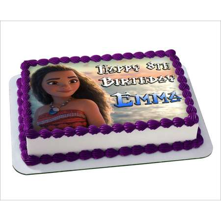 Moana Disney Edible Cake Image Personalized Toppers Icing Sugar Paper A4 Sheet Edible Frosting Photo Cake Topper 1/4 thumb