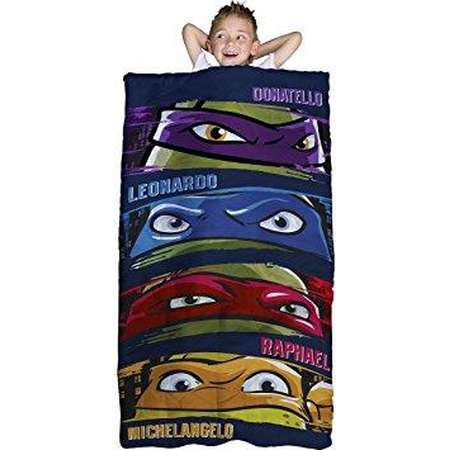 nickelodeon teenage mutant ninja turtles slumber bag, bonus backpack with straps, turtle faces thumb