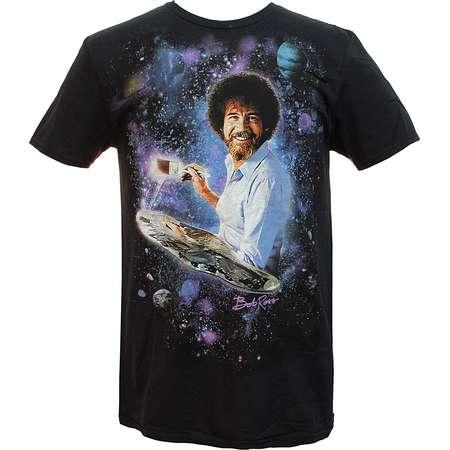 Bob Ross Mens Officially Licensed Signature Galaxy T-Shirt thumb