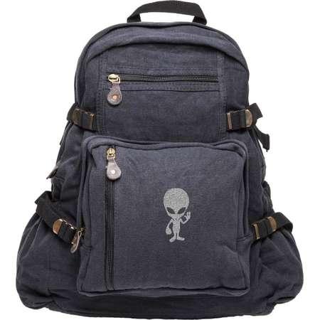 Alien Cartoon Army Sport Heavyweight Canvas Backpack Bag thumb