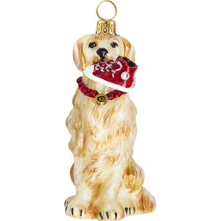 Golden Retriever with High Top Sneaker Polish Glass Christmas Ornament Pet Dog thumb