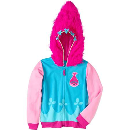 Trolls Girls' Poppy Graphic Costume Hoodie With Faux Fur and Patch thumb