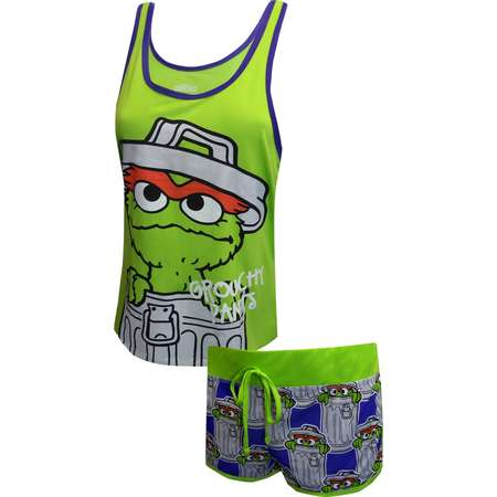 Sesame Street Oscar The Grouch Shortie Pajama Set thumb