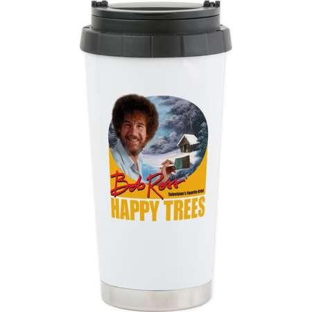 CafePress - Bob Ross Stainless Steel Travel Mug - Stainless Steel Travel Mug, Insulated 16 oz. Coffee Tumbler thumb
