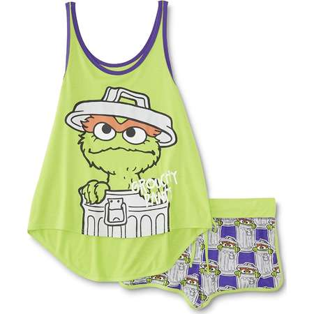 "Sesame Street ""Grouchy Pants"" Oscar the Grouch Women's Junior Fit Sleep Tank/Short Pajama Set (Small) thumb"