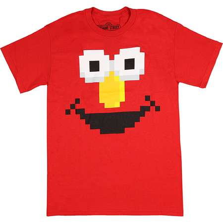 Sesame Street Elmo Big Face Adult 8-Bit Pixel T-Shirt Cotton Short Sleeve thumb
